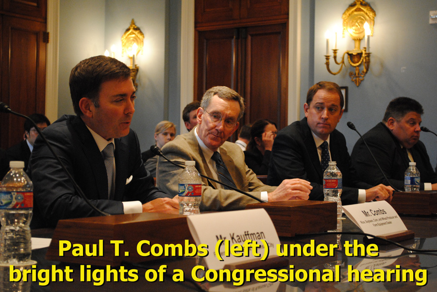 Paul T Combs (left) under the bright lights of a Congressional hearing.