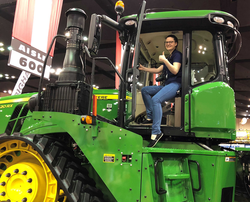 Lesley on tractor